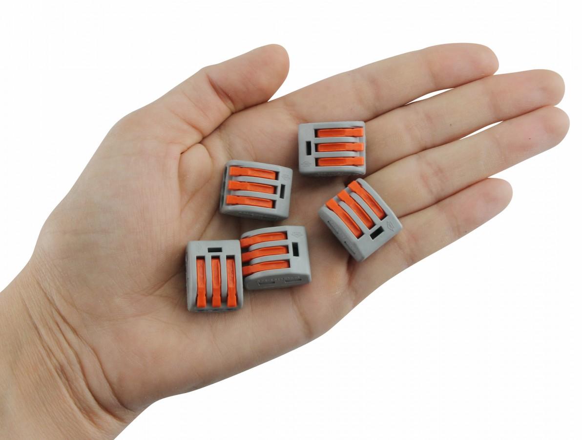 Conector Tipo Wago 3 Vias para Emenda Rápida 32A Fio 0.08 à 2.5mm2 - Kit com 5 Unidades
