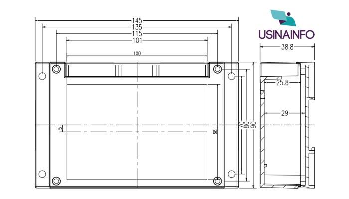 Case SZOMK para Montagem 145x90x40mm / Gabinete para Trilho Din + Bornes