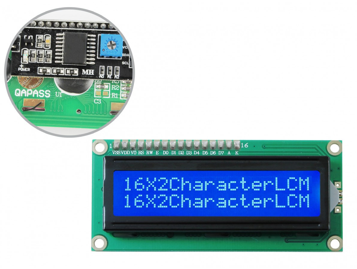 Display LCD 16x2 I2C com Fundo Azul