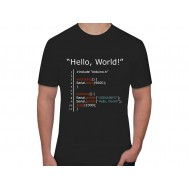 "Camiseta Maker ""Hello, World"" - Preta G"