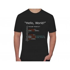 "Camiseta Maker ""Hello, World"" - Preta GG"