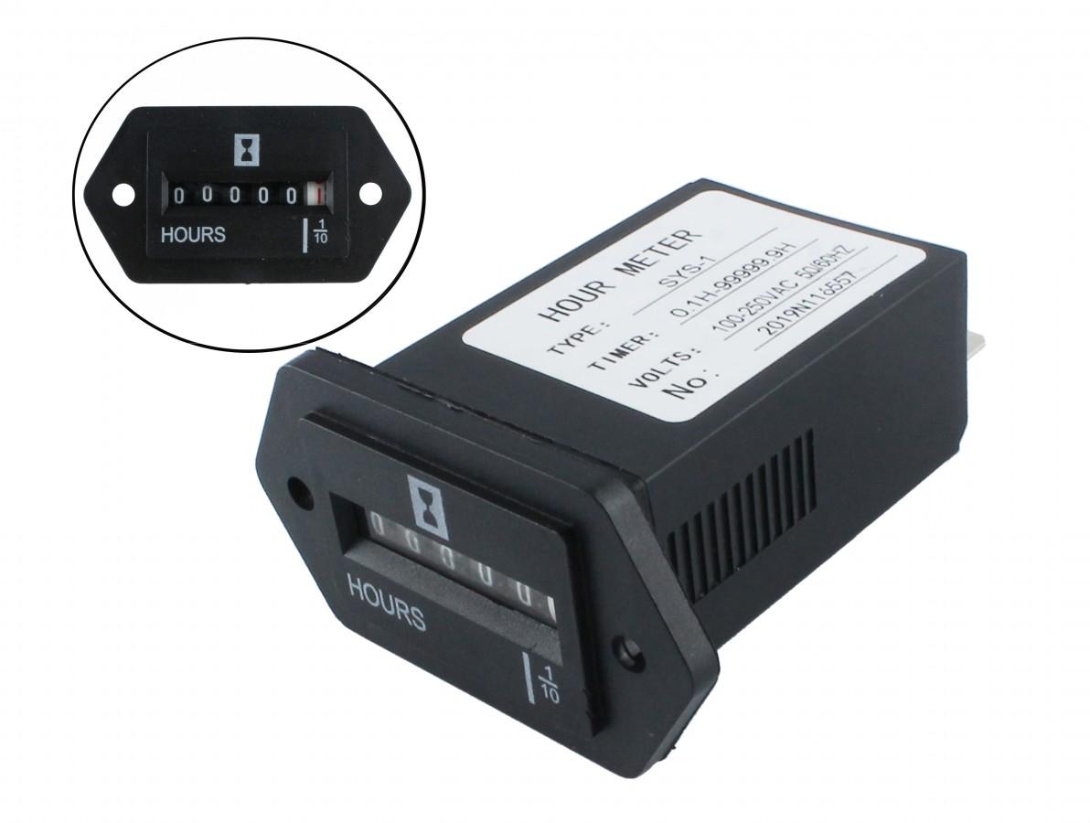 Horímetro Analógico / Contador de Horas Eletromecânico 100-250VAC - SYS-1