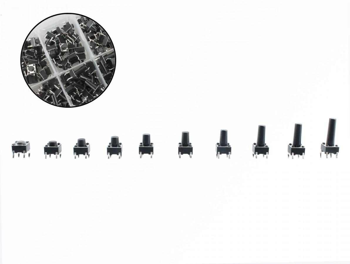 Kit Push Button 6x6 4.3 a 15mm com 200 Peças + Case