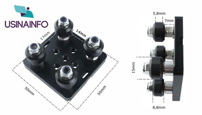 Pórtico CNC-V-Slot com 4 Roldanas 15mm Padrão Openbuilds