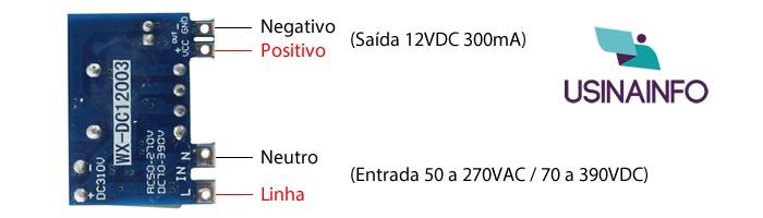 Conversor AC DC 12VDC 300mA Entrada 50 a 270VAC - WX-DC12003