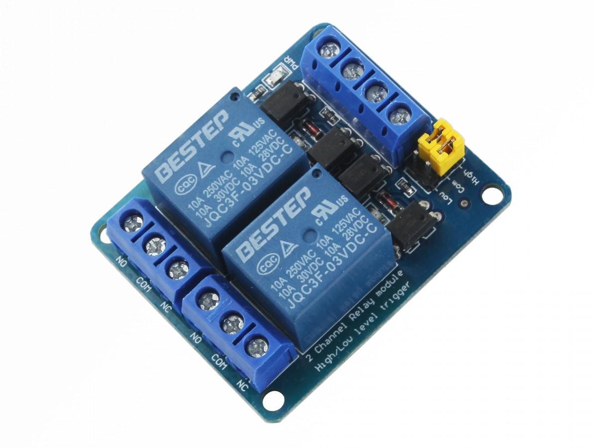 Módulo Relé 3V 10A 2 Canais com Optoacopladores
