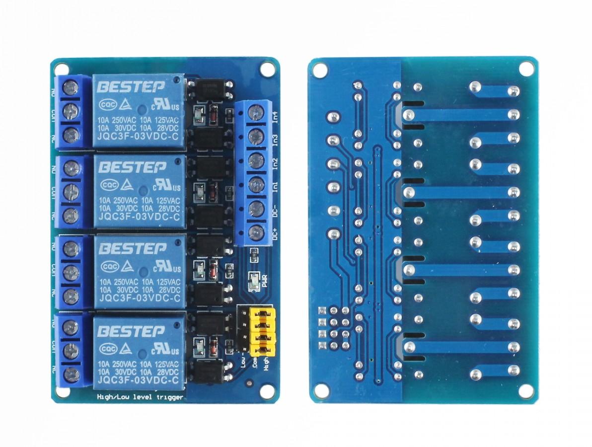 Módulo Relé 3V 10A 4 Canais com Optoacopladores