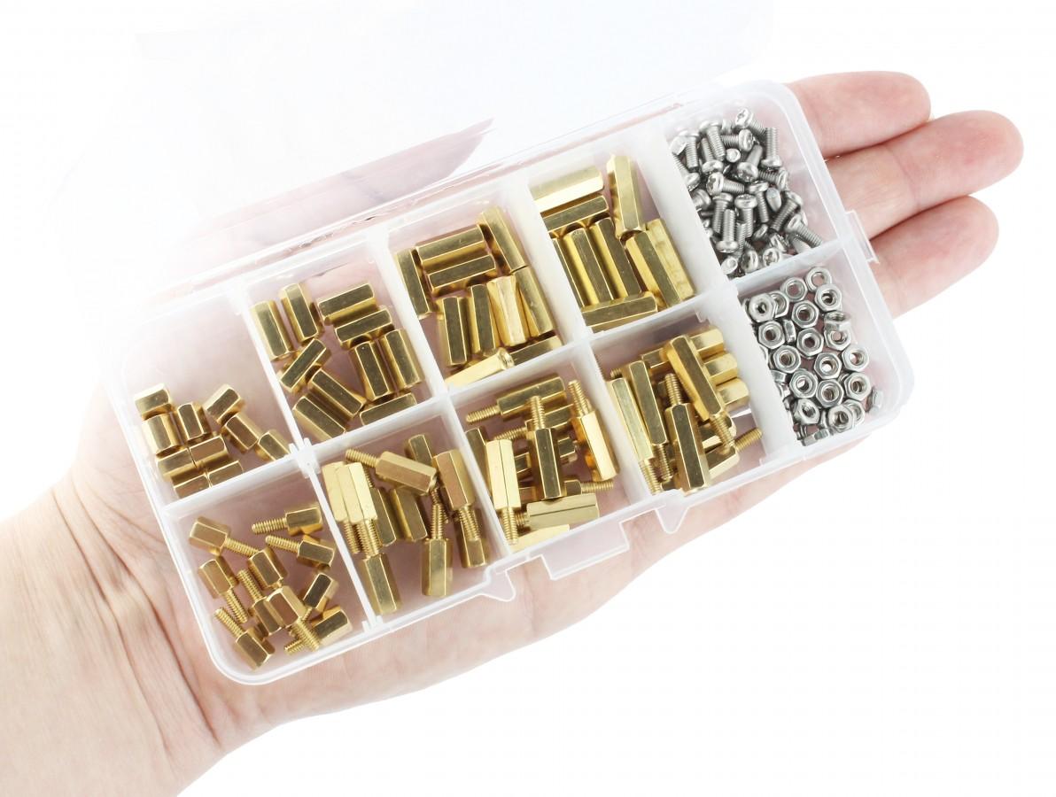 Kit de Espaçadores Plásticos em Nylon, Parafusos e Porcas M2.5 + Case - 180 Unidades
