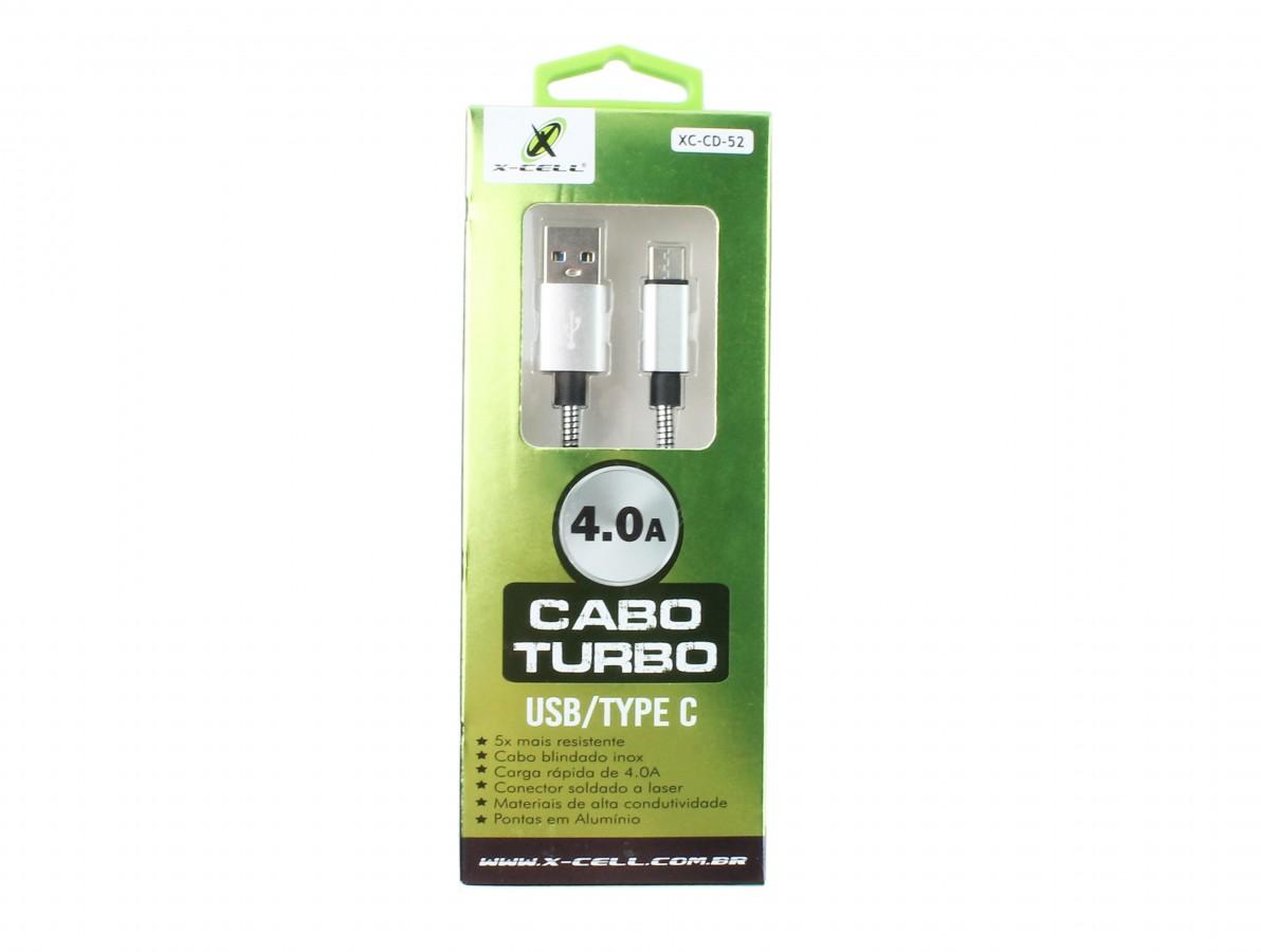 Cabo USB tipo C Inox 1m Turbo 4A Blindado para Raspberry Pi 4 e Celular - Prata