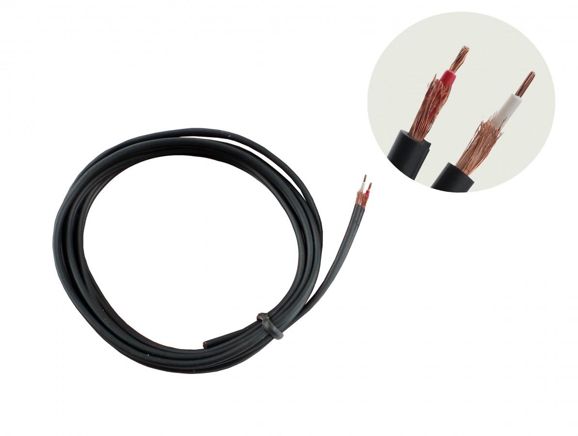 Cabo de Áudio Estéreo Walkman Blindado 1m - 2x0,10mm2 Preto
