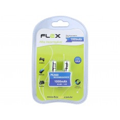 Pilha AAA Recarregável 1000 mAh Flex - Kit com 2 unidades