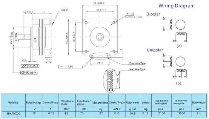 Motor de Passo 12V 0,12Kgf.cm 16HA0003C