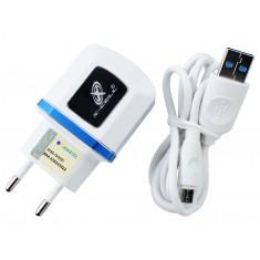 Carregador de Celular Turbo / Fonte Chaveada 5V 4A USB Dupla + Cabo Micro USB