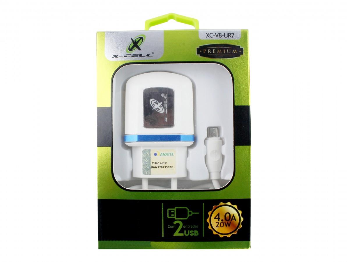 Fonte Chaveada 5V 4A USB Dupla para Arduino, ESP32 e Celular + Cabo Micro USB