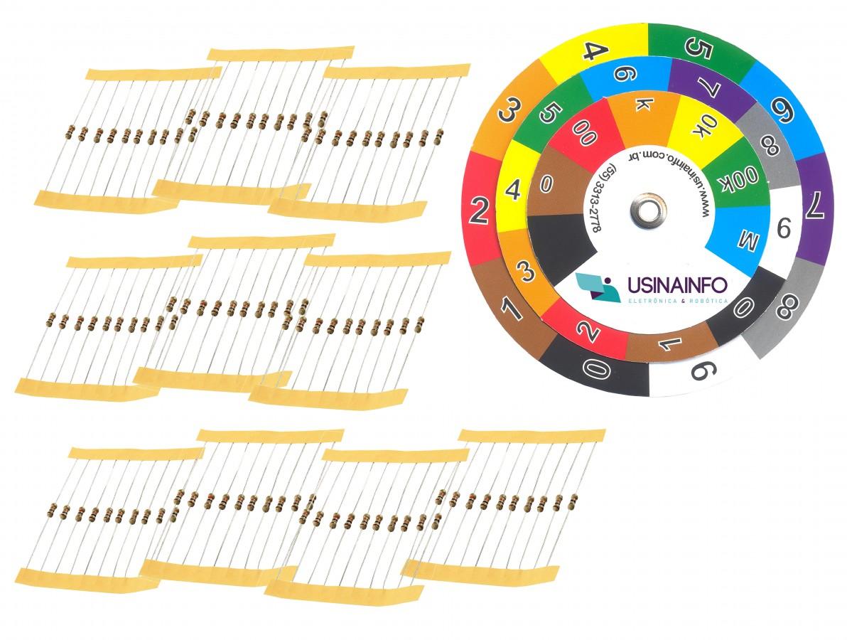 Kit de Resistores Diversos com 100 Unidades + Disco para Cálculo