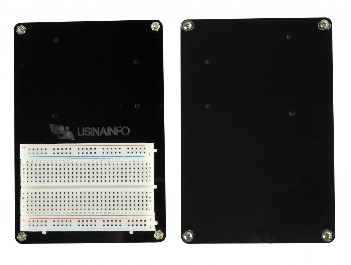 Base Acrílica Preta com Protoboard para Arduino