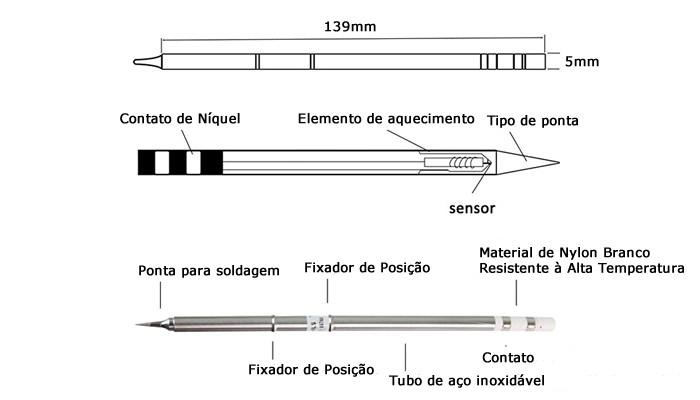 Ponta para Ferro Solda Hakko Tipo Agulha T12-ILS