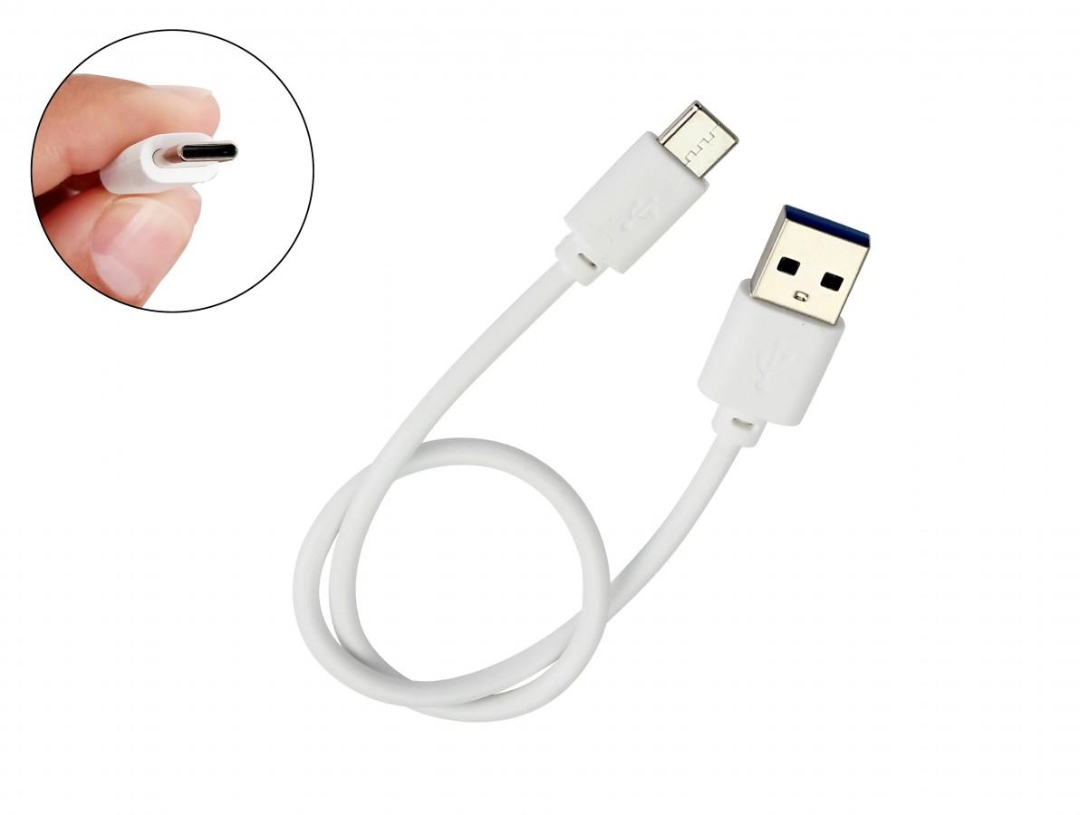 Cabo USB tipo C 30cm 3A Turbo para Raspberry Pi 4 e Celular - Branco