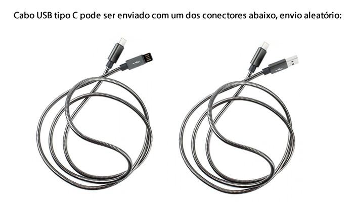 Cabo USB tipo C Inox 1m Turbo 4A Blindado para Raspberry Pi 4 e Celular - Preto