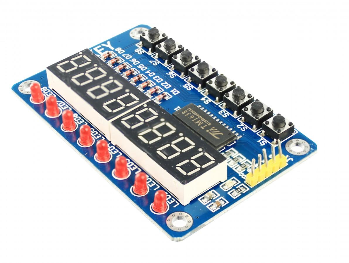 Módulo Display 7 Segmentos TM1638 com 8 Leds e 8 Push Buttons