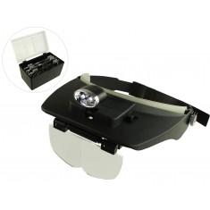 Lupa de Cabeça com Iluminação + Estojo com 4 Lentes - Aumento 1.2D 1.8D 2.5D 3.5D - SLC-1009 LED