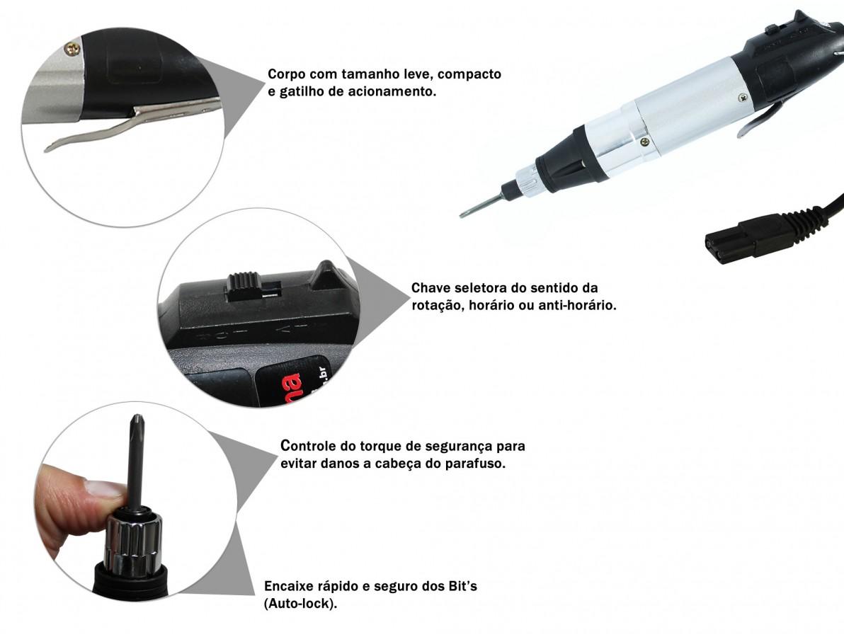 Parafusadeira elétrica com conector fêmea ideal para trabalhos minuciosos e de precisão - XB800A