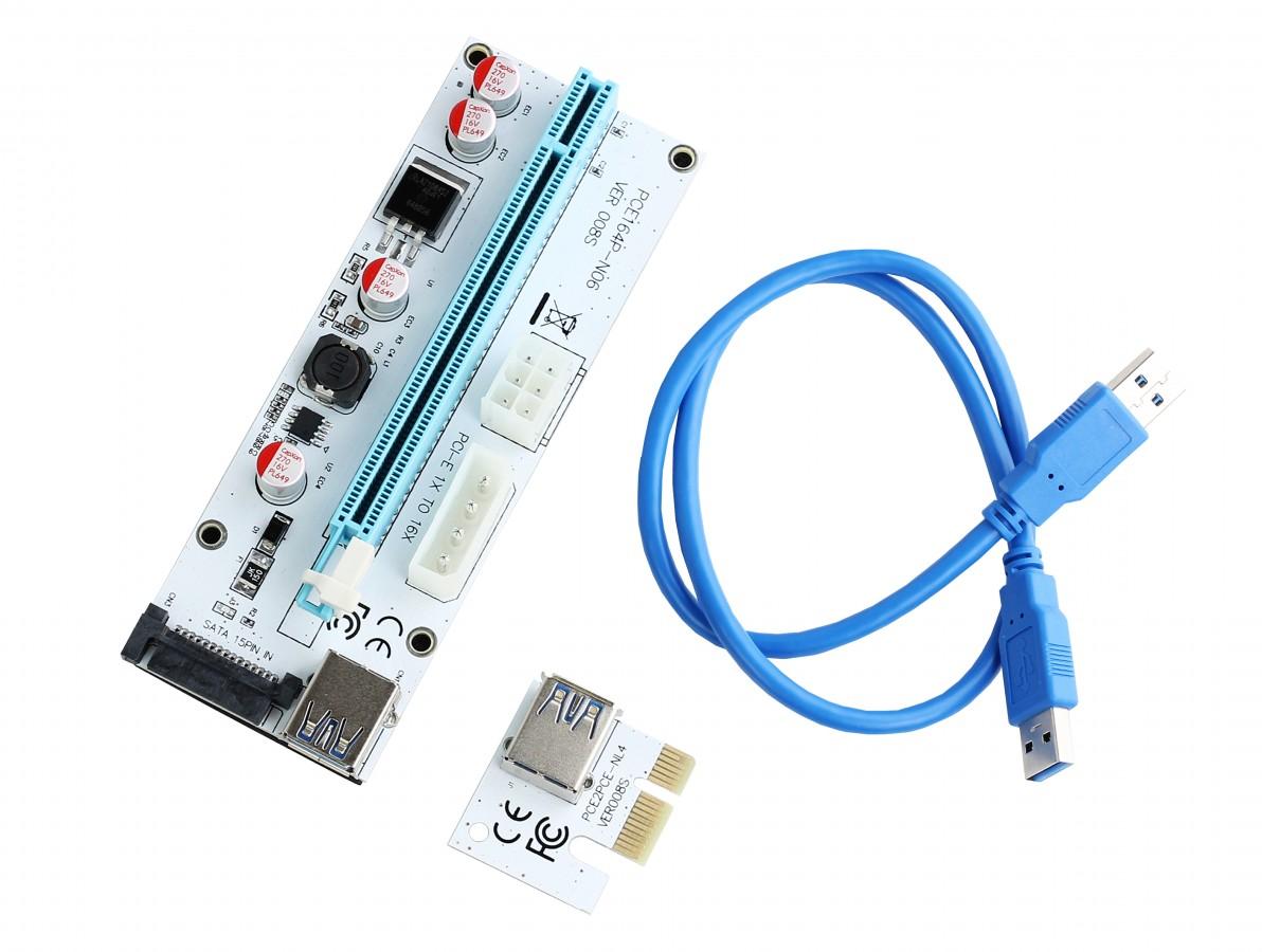 Cabo Riser Usb 3.0 Extensor PCI Express com Capacitores para Mineradora