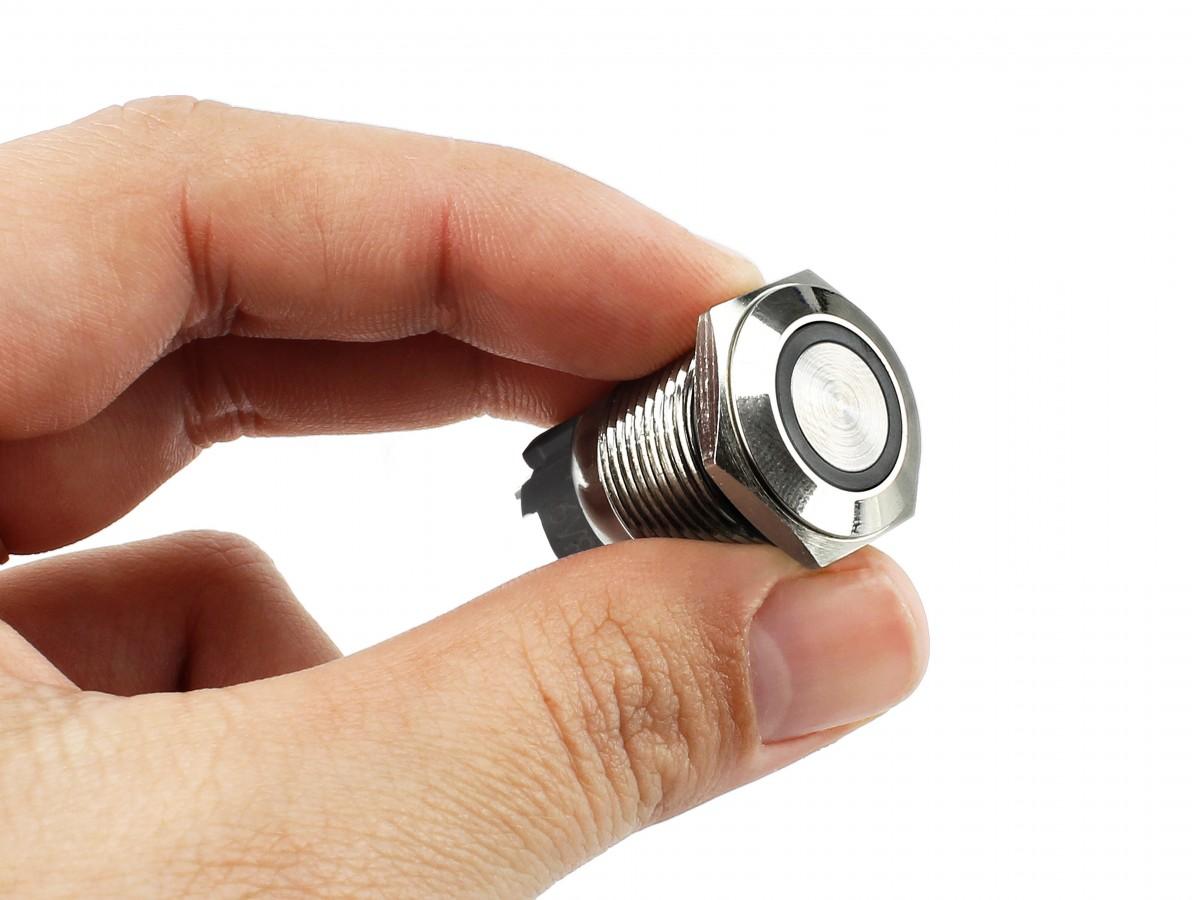 Pulsador Push Button NA em Aço Inox com LED Azul - Impermeável