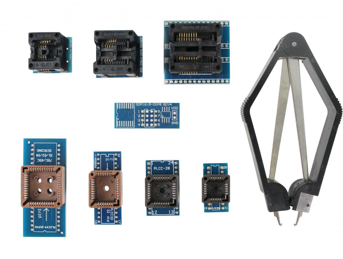 Kit de Adaptadores SOP8, SOP16 e PLCC para Gravador de Bios Eeprom EZP2010 + Extrator - Kit com 9 Unidades
