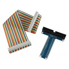 Cabo Flat para Pinos GPIO + Adaptador de Protoboard para Raspberry Pi 4, Pi 3 e Pi 2