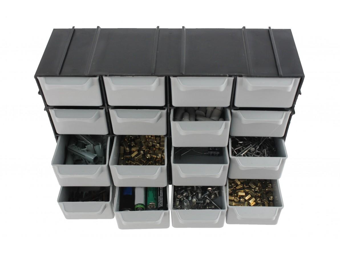 Gaveteiro de Plástico / Organizador 7001 Modular com 16 Gavetas