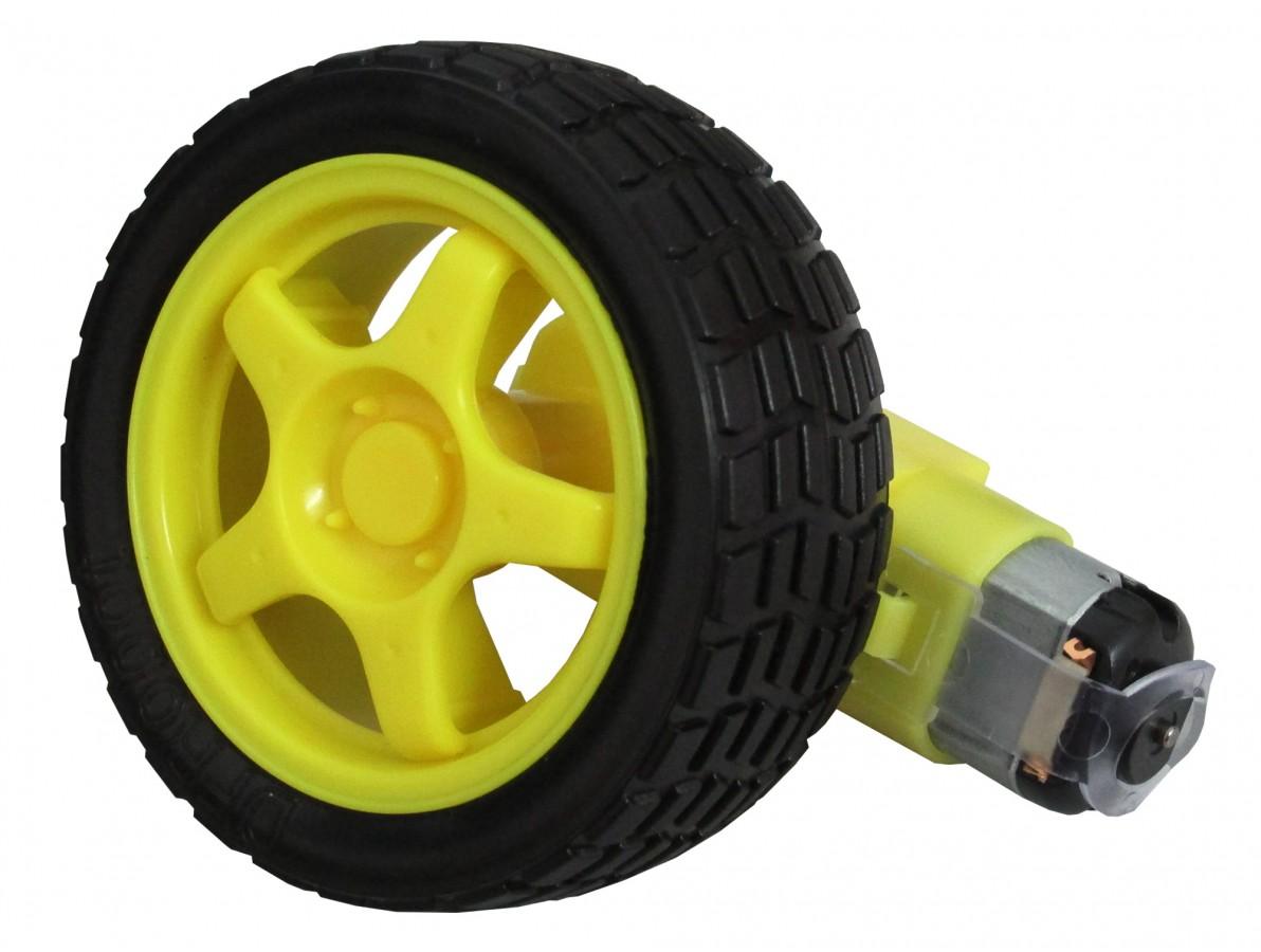 Roda com Caixa de Redução e Motor 120:1 80RPM