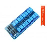 Módulo Relé 5V 10A 16 Canais com Optoacopladores - OUTLET