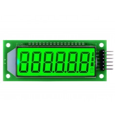 """Display 7 Segmentos 6 Dígitos LCD 2,4"""" HT1621 Arduino com Fundo Verde"""