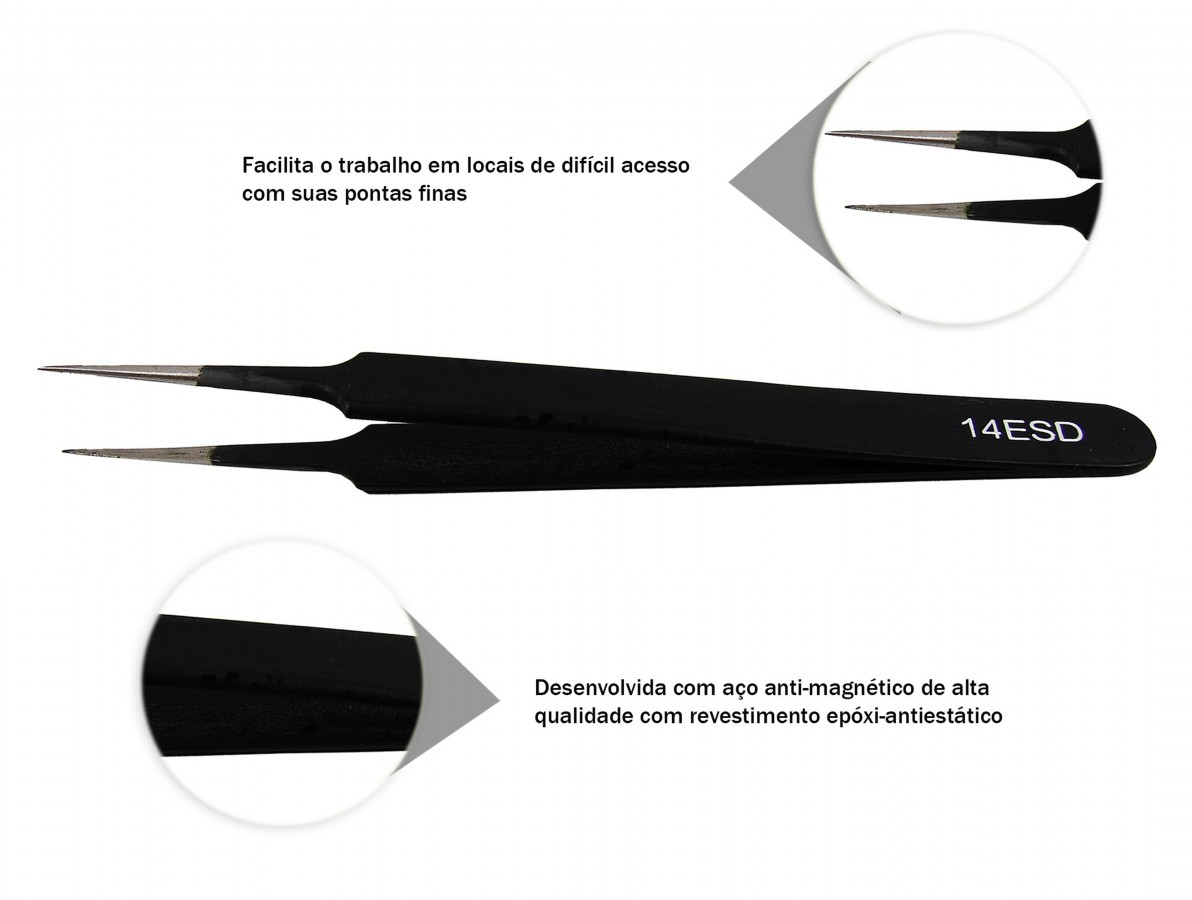 Pinça Antiestática ESD com Revestimento Epóxi 120mm - ESD14