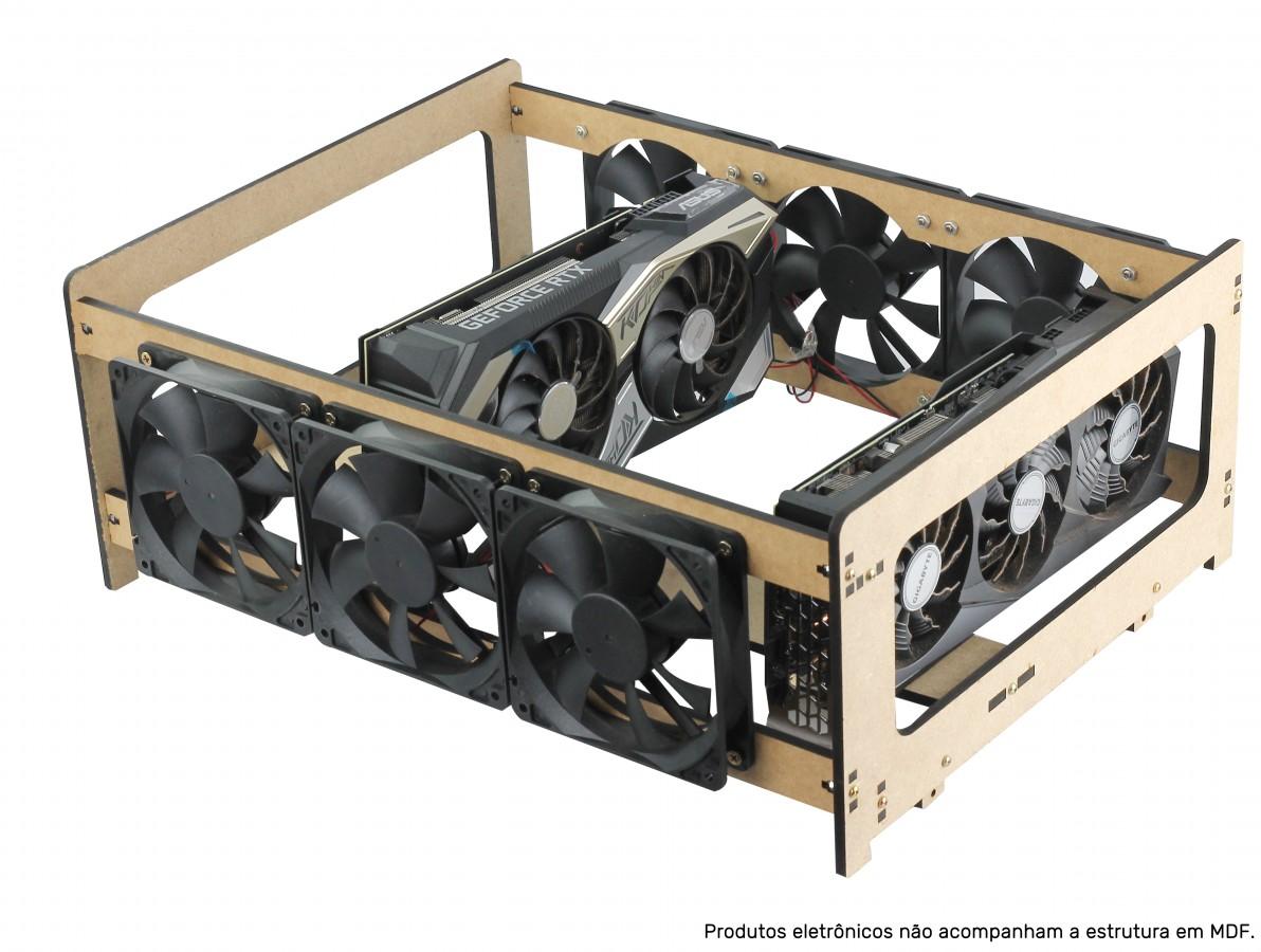Extensor para Rig de Mineração RM4G6F com 4 GPUs e 6 Fans MDF 6mm + Manual de Montagem