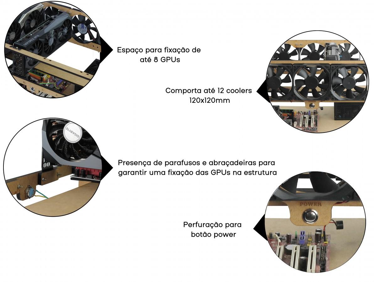 Rig de Mineração para 8 GPUs e 12 Fans MDF 6mm RM8G12F + Manual de Montagem