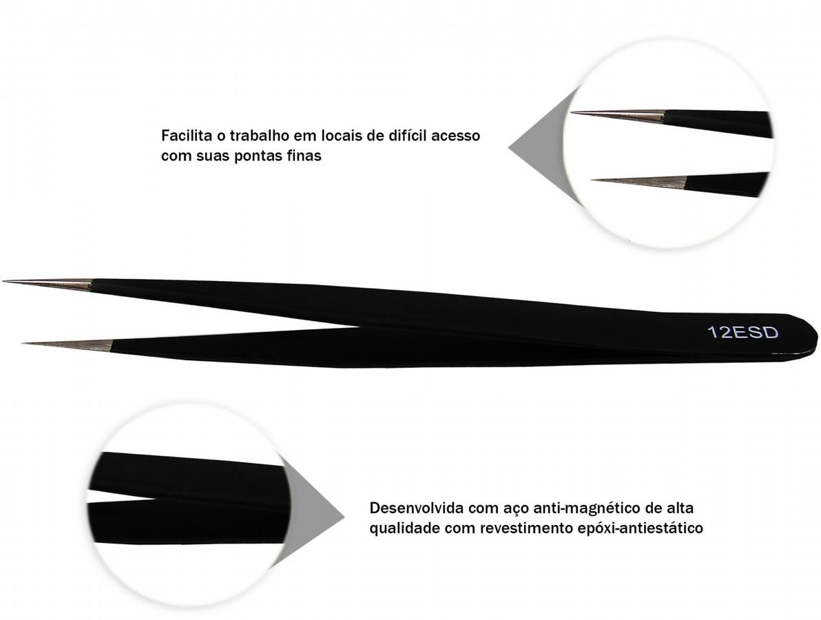 Pinça Antiestática ESD com Revestimento Epóxi 135x9mm - ESD12
