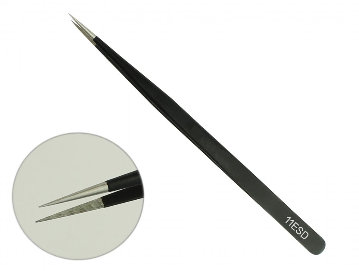 Pinça Antiestática ESD com Revestimento Epóxi 140x6mm - ESD11