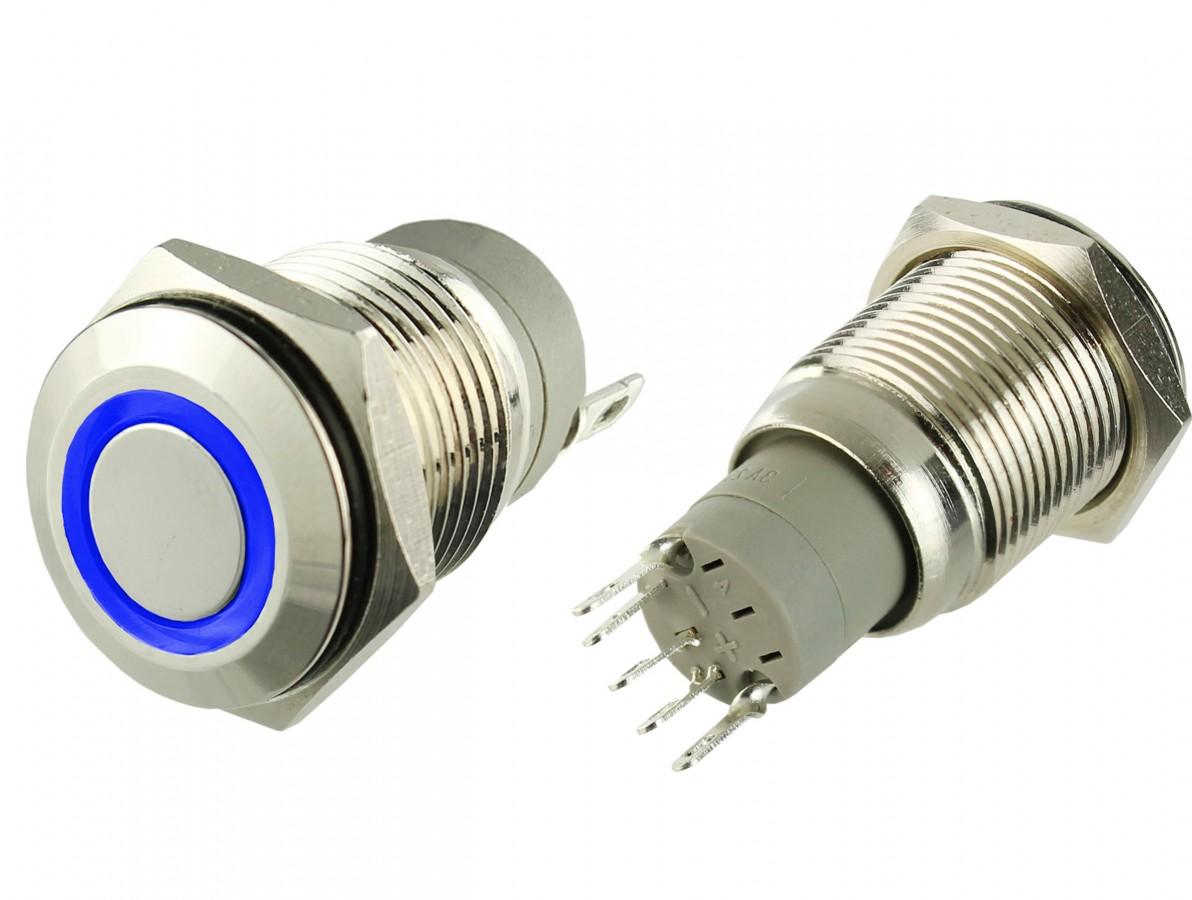 Pulsador Push Button em Alumínio com Iluminação em LED Azul - Impermeável