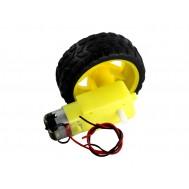 Motor com Fios Soldados e Caixa de Redução 48:1 200RPM + Roda