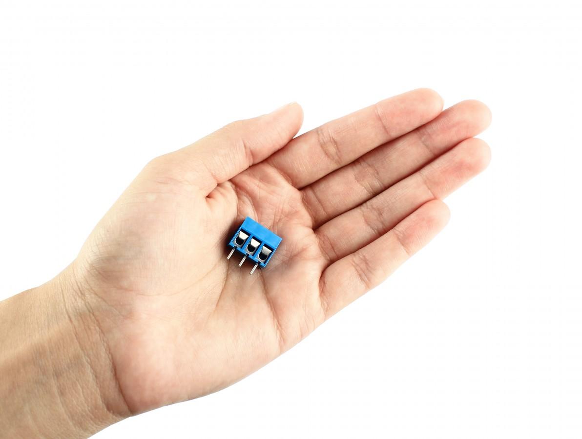 Conector Borne 12mm 3 vias azul