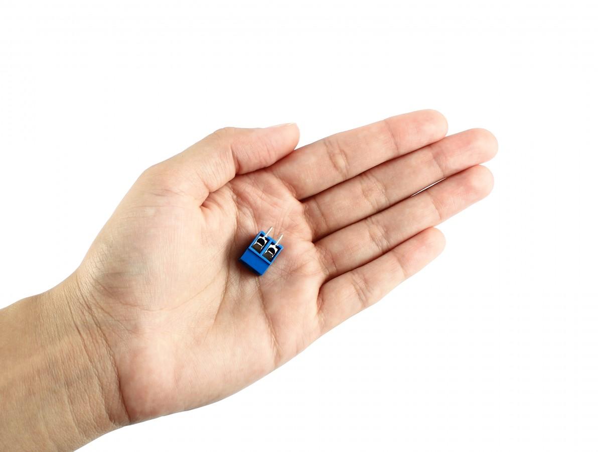Conector Borne 12mm 2 vias azul