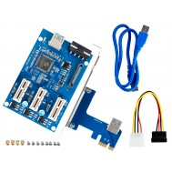 Expansor PCI Express x1 para x3 PCIE Riser com USB 3.0 em Rig Mineração