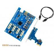 Expansor PCI Express x1 para x4 PCIE Riser com USB 3.0 em Rig Mineração