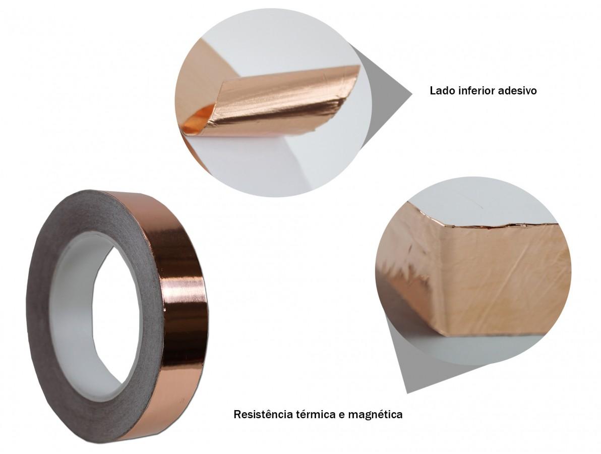 Fita de cobre para blindagem e proteção de equipamentos - 25mm x 30m