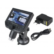 Microscópio Digital Portátil 600x HD com Tela LCD + Fonte Bivolt G600 - Distância Focal 15 a 50mm