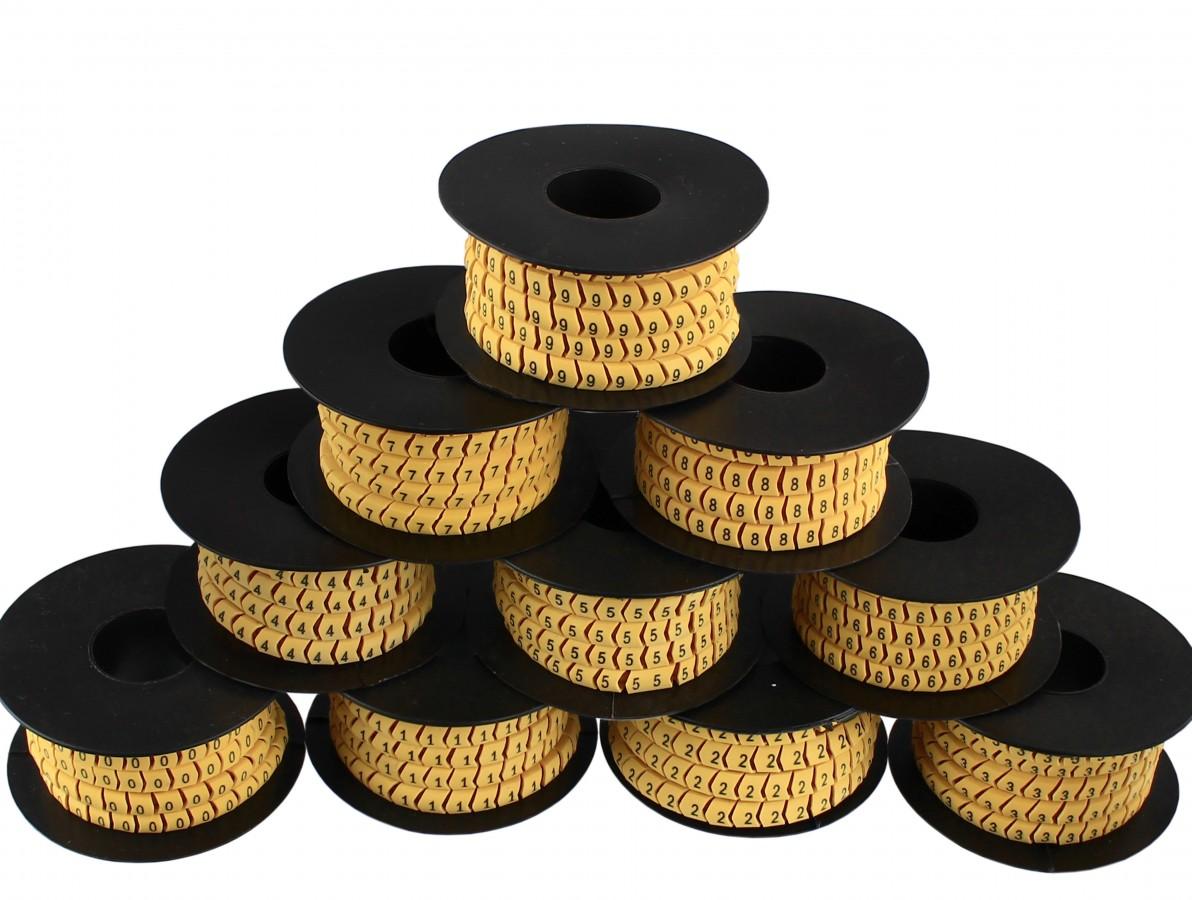 Identificador de Cabos / Anilhas Numéricas 2,5mm² - Kit com 10 rolos (0 a 9)