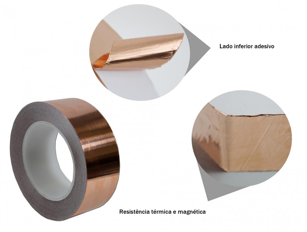 Fita de cobre para blindagem e proteção de equipamentos - 45mm x 30m