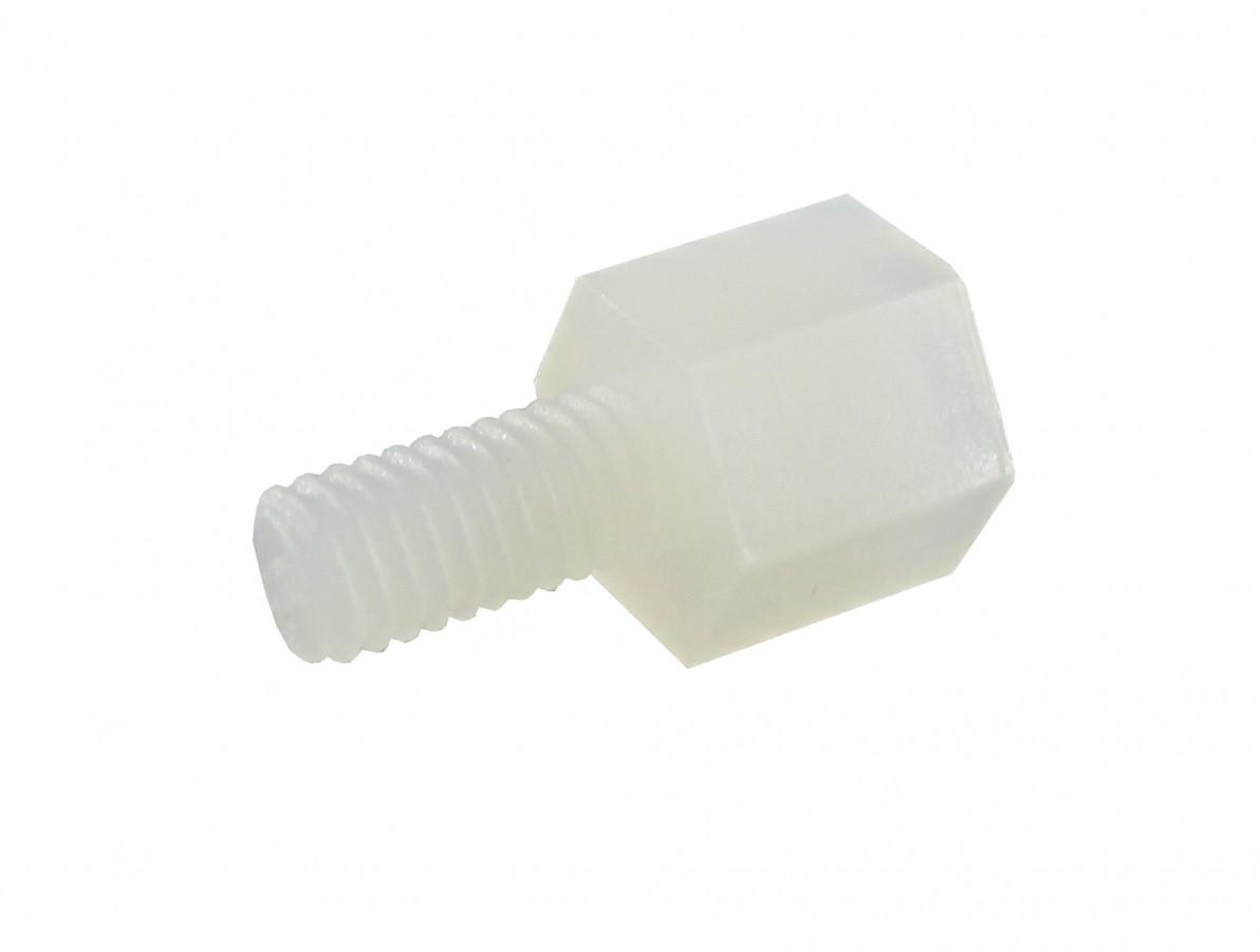 Parafuso Espaçador Plástico Sextavado em Nylon 5mm + 6 mm M3 PCB - Macho - Kit com 10 unidades